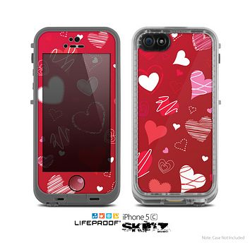 The Red Sketched Love Hearts Illustrastion Skin for the Apple iPhone 5c LifeProof Case