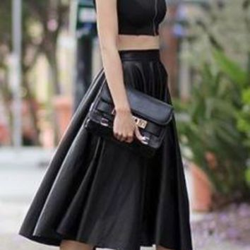 Black Faux Leather High Waist Calf Length Bell Flare A Line Pleat Midi Skirt