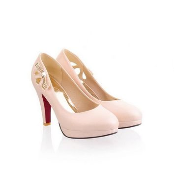 Maymeenth Girls Closed Toe Pointed Toe High Heel PU Soft Material Solid Pumps, Beige, 4 B(M) US