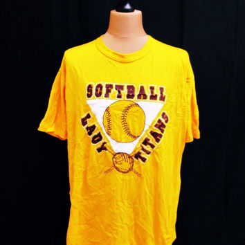 Vintage 1990s SOFTBALL Indie EMo Preppy T-Shirt Large