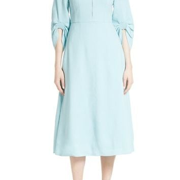 Tibi Marta Smocked Sleeve Linen Blend Midi Dress | Nordstrom