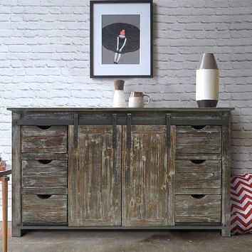 60 Inch Wooden Console with Barn Style Sliding Door Storage,Distressed Brown