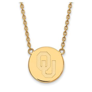 NCAA 14k Gold Plated Silver Oklahoma Large Disc Necklace