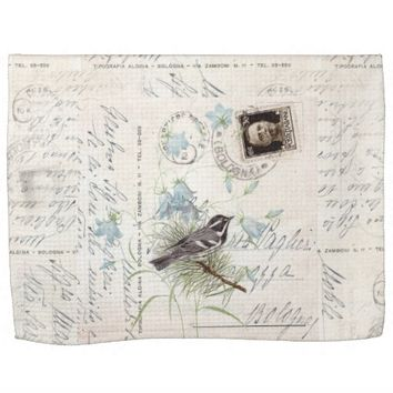 Vintage Bird Flowers Italian Postcard Towel