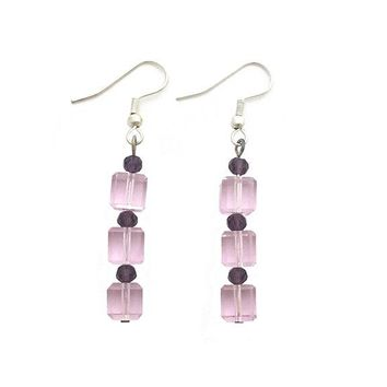 Pink Crystal Cube Purple Round Bead Stacked Earrings