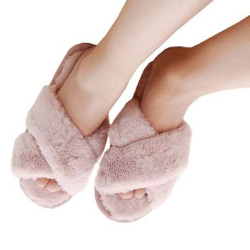 New Warm House Slippers/Platform/Sweet Solid Indoor Slides/Spring Casual Flats