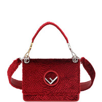 Fendi Kan I Small Textured Velvet Shoulder Bag