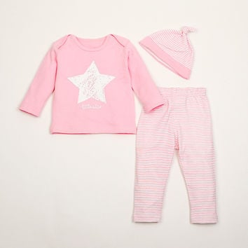 Baby Romper Set Pants+Hat+Coat 3Pcs Kids Unisex Long Sleeve Tracksuit 4 Colors Girls Boys Star Cotton Nightwear Newborn Robe