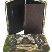 Soft Camo Angel Wings Rhinestone Revolver Guns Flat Wallet Clutch Purse