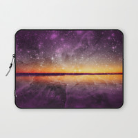 Violet Stars And Sunset Lake Laptop Sleeve by minx267