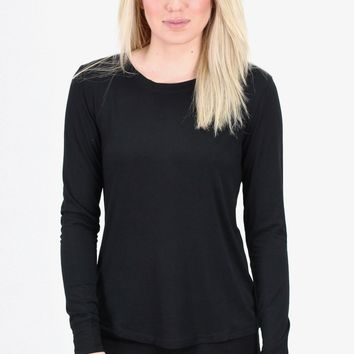 Long Sleeve Basic Crew Neck Top {Black}