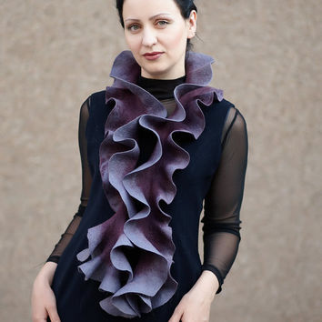 Handmade felted Long ruffle scarf Jabot Neck warmer by ProninA