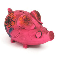 Pink Piggy Bank - Vintage Mexican Pottery Bank, Hot Neon Pink with Sgraffito Flower Decoration, Psychedelic Pig Figurine, 1960s Pottery