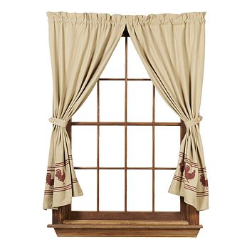 Red Rooster Short Panel Curtains