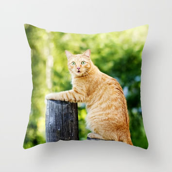 Funny Ginger Cat Throw Pillow by Oksana