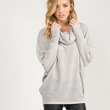 3/4 Sleeve Loose Cowl Neck Sweater Top - Large