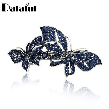Exquisite Double Butterfly Crystal Hair Clip Barrette Hairpin Accessories Jewelry For Woman Wedding F124