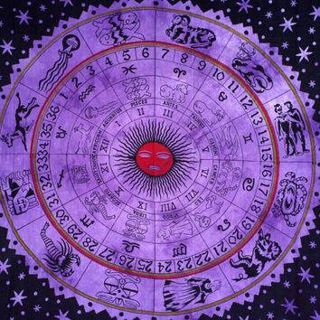 Horoscope Zodiac Sun Hippy Tapestry Wall Hanging Wall ART Sofa Throw Full TWIN  Bed Spread Artwork purple SBS-43