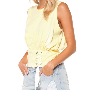 Lace Up Top - Lemon by Dex
