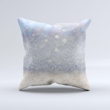 The Light Blue and Tan Unfocused Orbs of Light ink-Fuzed Decorative Throw Pillow
