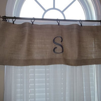 Burlap Embroidered Curtain Valance with Monogram, window treatment, personalized valance