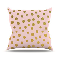 "Nika Martinez ""Golden Dots & Pink"" Blush Throw Pillow"