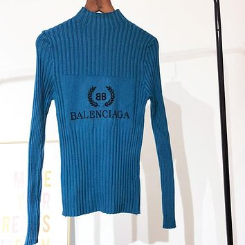 Balenciaga New Fashion Autumn And Winter Bust Letter Leaf Print Knit Slim Fit Long Sleeve Top Sweater Blue