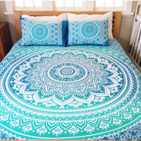 Mandala Queen Bed Cover (Deep Blue)