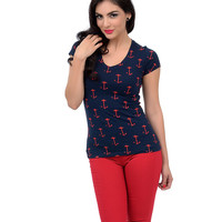 Navy & Red Cap Sleeve All Over Anchors V-Neck Tee
