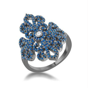 Victoria 1.23ct Sapphire CZ Hematite Filigree Cocktail Ring, Size 5