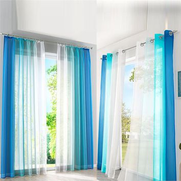 Orange/Blue Gradient Tulled Window Curtains Polyester Terylene Yarn Window Sceen Graded Tulle Curtains For Living Room S/M/L/XL