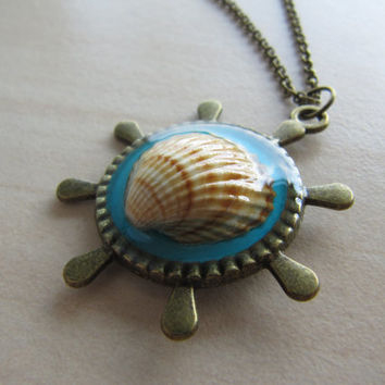 Real sea shell round pendant, resin jewelry, antique brass necklace, large helm, shell pendant, teal pendant, navy necklace, resin pendant