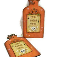 Hand Painted Poison Bottle Shape Halloween Sign | Halloween Poison Pumpkin Potion Bottle Sign
