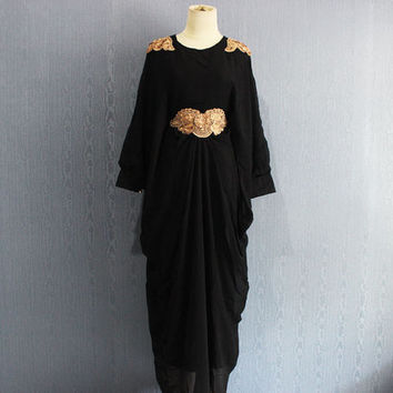 Elegant Black Afantee Caftan Maxi Dress with lining Plus Size Soft Chiffon Kaftan Maternity Dress,  Limited Edition Kaftan Maxi Dresses