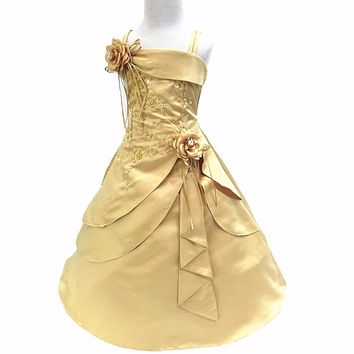 Flower Girl Dresses Embroidery Satin Beaded Long Party Evening Ball Gown