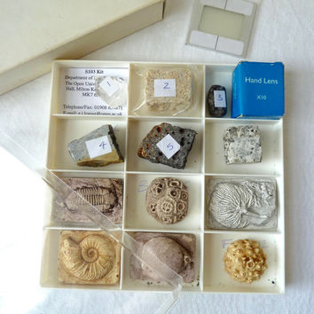 Rare Vintage Open University S103 Practical Kit H.P.K., Dept of Earth Sciences Practical Complete Kit With Rocks, Minerals & Replica Fossils