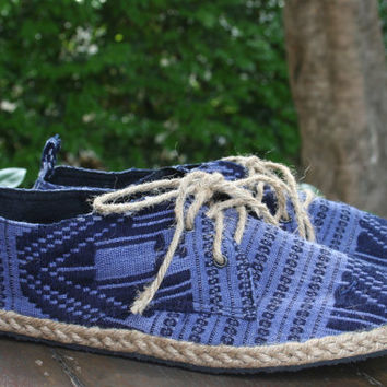 Vegan Mens Shoes Lace Up Oxfords In Blue Isaan Textiles - Matt
