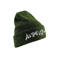 All Time Low Men's Scratch Logo Official New Beanie Hat One Size Green