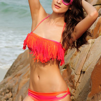 Pink and Orange Cut-Out Tassel Trim Bikini