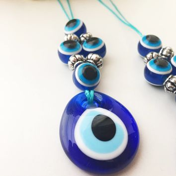 Evil eye beads, car rear view mirror charm, evil eye charm, blue evil eye