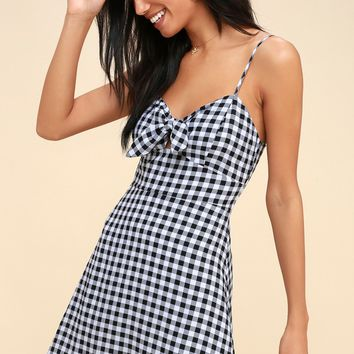 St. Helena Black and White Gingham Tie-Front Dress