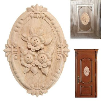 Furniture Wooden Applique Doors Carved Decal Cabinet