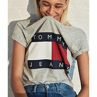 FREE SHIPPING Tommy Hilfiger Tommy men and women classic tee shirt T-shirt