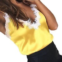 Lace Tank Tops Women Slip Top Female Sexy Golden Pink Silk Camisole Top Straps Evening Club Party Summer Camis Satin