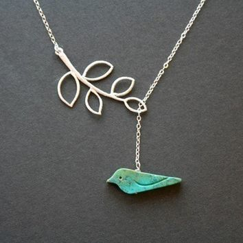 Bird necklace, Turquoise bird and leaf necklace, lariat necklace, friendship necklace, new baby shower gifts,mothers day gifts, bird jewelry