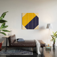 Yellow Blue Chamber Wood Wall Art by spaceandlines