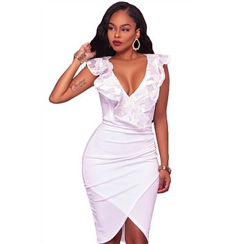 White Ruffle V Neck Detail Midi Dress