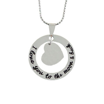 Stainless Steel Charm Necklace I Love You to the Moon and Back  - Blank for Engraving