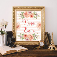 Easter Printable Print Art Happy Easter Print Christian wall art Christian quote Watercolor flowers Easter gift 8x10 Digital file SALE