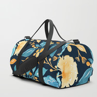 Teal and Golden Floral Duffle Bag by noondaydesign